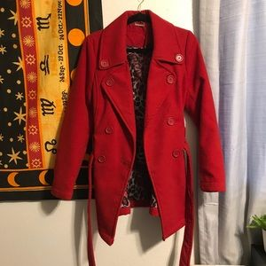 Red Women's Peacoat